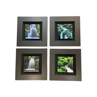 """""""Waterfalls"""" Contemporary Landscape Photographs from the Element Pack by Peter Lik Element, Framed - Set of 4 For Sale"""