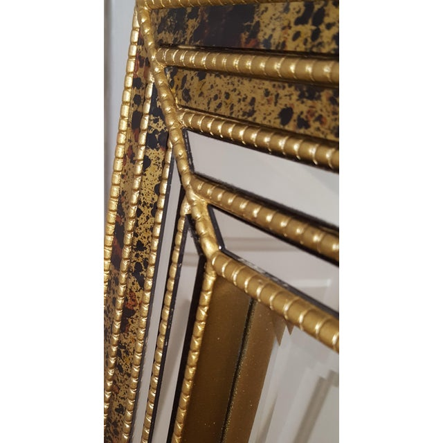 Mid-Century Faux Tortoise Gilt Mirror - Image 5 of 10