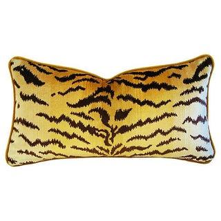 Designer Scalamandré Le Tigre & Mohair Pillow For Sale