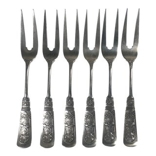 "Late 19th Century Gorham ""Fontainebleau"" Sterling Silver Fruit Forks - Set of 6 For Sale"