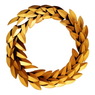 Gold Metal Laureal Leaf Round Christmas Wreath Wall Décor For Sale