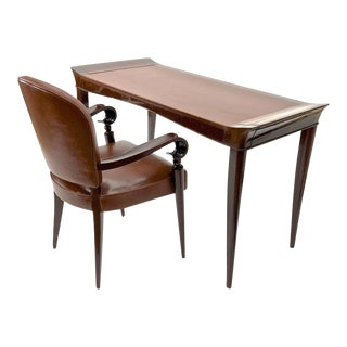 Maxime Old Exceptional Slender Mahogany Desk and Chair With Leather Top For Sale
