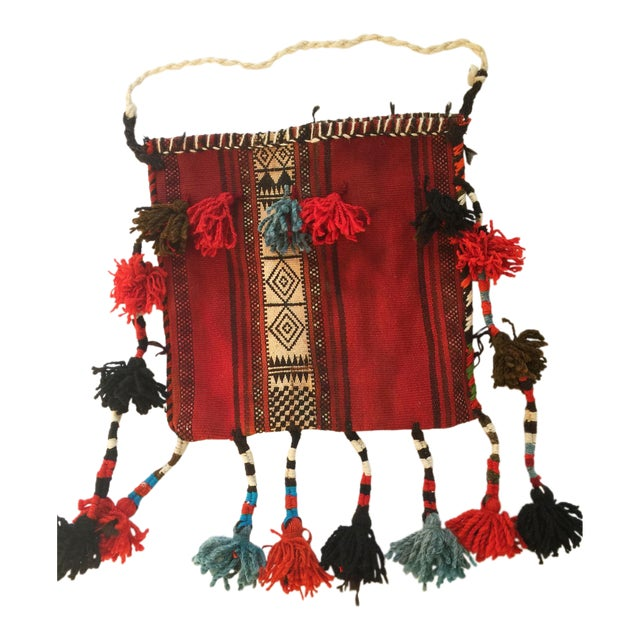 Vintage Ethnic Tasseled Woven Bag Wall Hanging For Sale
