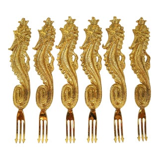 Gilt Seahorse Hors d'Ouvres Forks, S/6 For Sale