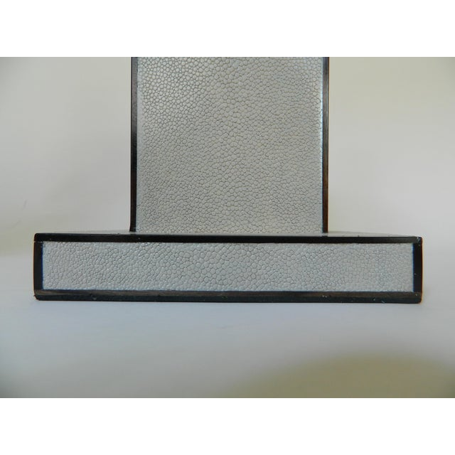Contemporary Grey Shagreen Table Lamps - a Pair For Sale - Image 3 of 8