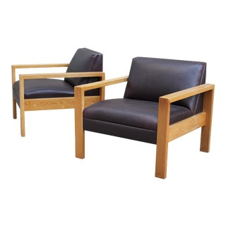 Gunlocke Solid White Oak Armchairs - A Pair