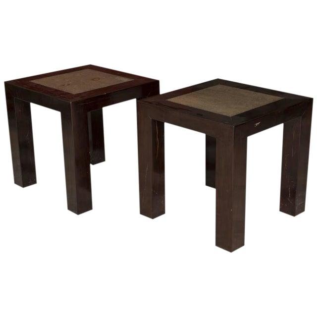 Concrete Insert Ebonized Wood Side Tables - a Pair For Sale