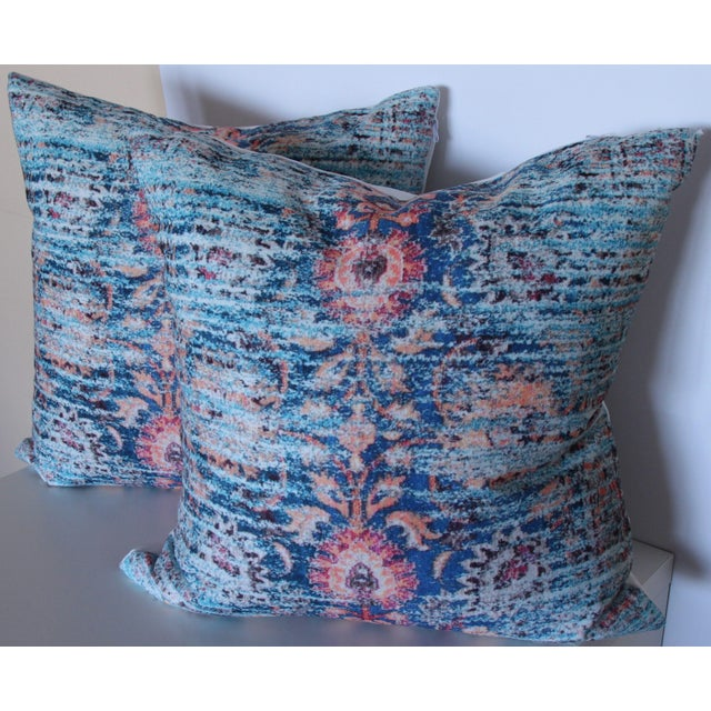 Asian Blue Ikat Distressed Print Pillow Cover - a Pair-16'' For Sale - Image 3 of 6