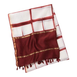 Oz Paprika Red Hand Dyed Cotton and Silk Table Linen For Sale