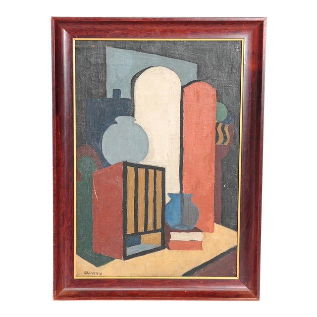 20th Century American Abstract Still Life by Flora Scofield, Oil on Canvas For Sale