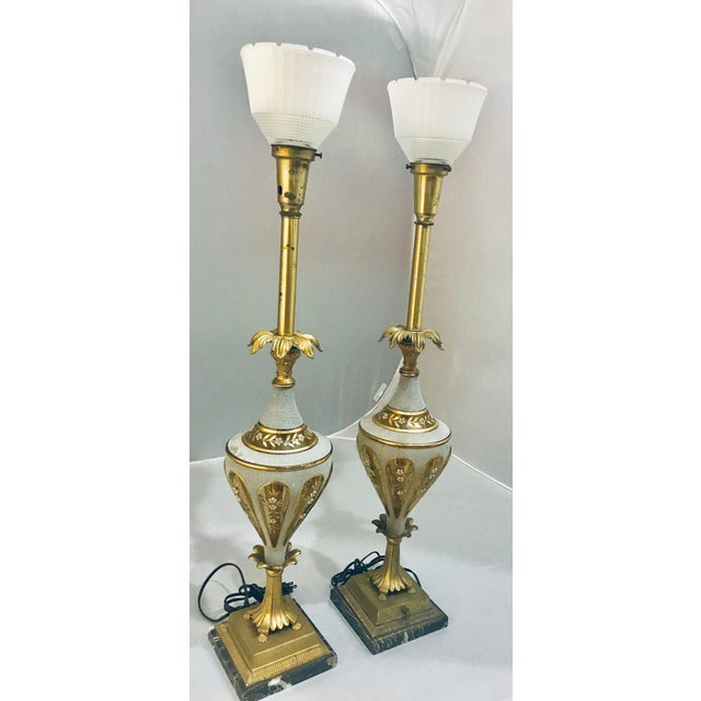 1940s Glass & Brass Torchiere Table Lamps - a Pair For Sale - Image 4 of 10