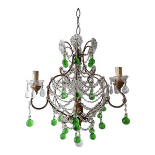 French Green Murano Drops Crystal Chandelier, circa 1930 For Sale