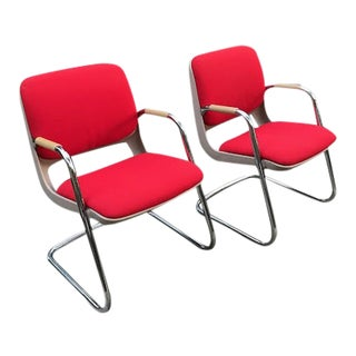 Vintage Chrome and Red Fabric Cantilever Steelcase Arm Chairs- a Pair For Sale
