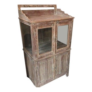 Vintage White Washed Entertainment / Display Cabinet For Sale
