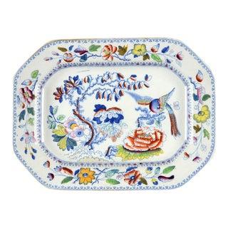 Blue Bird Motif Mason's Oval Serving Platter For Sale