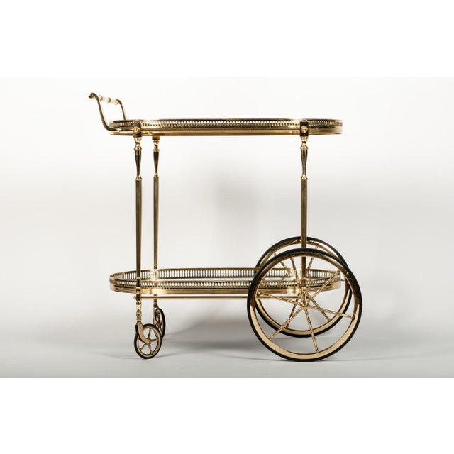 1930s French Vintage Solid Brass Bar Cart with Mirrored Shelves For Sale - Image 5 of 5