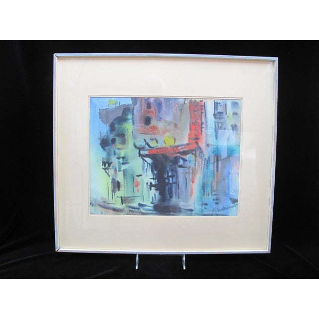 Vintage Mid-Century Manfred Lindenberger Chinatown #2 Watercolor Painting For Sale In Portland, OR - Image 6 of 6