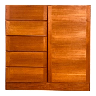 Vintage Danish Teak Wardrobe Armoire For Sale