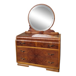 Vintage Waterfall Chest of Drawers with Mirror