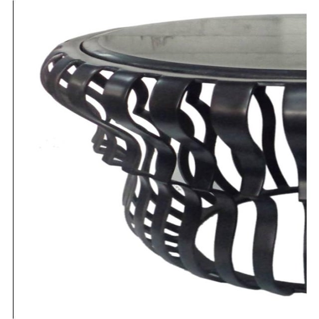 Black Aluminum & Clear Glass Top Coffee Table - Image 2 of 4