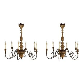 Charming Pair of Italian 18th Style Six-arm Chandeliers For Sale