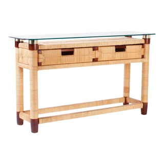 Two-Drawer Glass Top Donghia Console Table For Sale