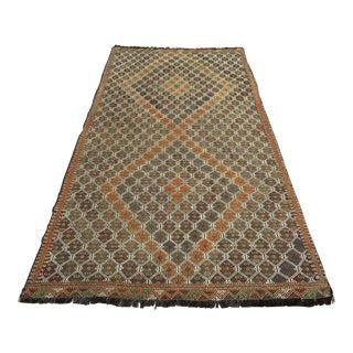 "Vintage Anatolian Handmade Embroidered Kilim Rug-5'3'x10'1"" For Sale"