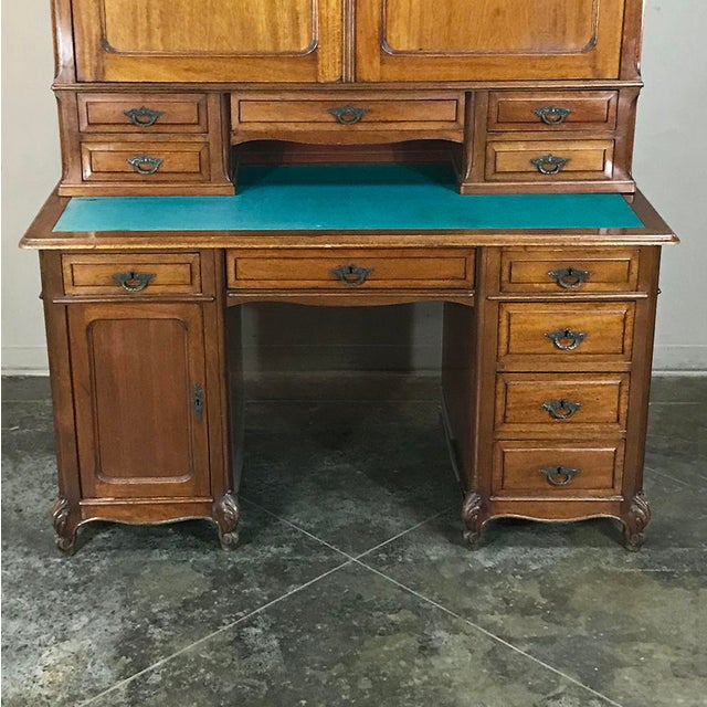 Brown Grand 19th Century Louis Philippe Walnut Desk With Bookcase For Sale - Image 8 of 12