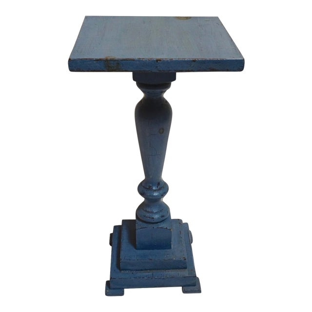 Small Antique Blue Painted Pedestal Table For Sale