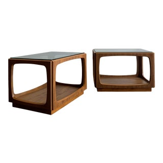 Mid Century Walnut Side Tables - A Pair For Sale