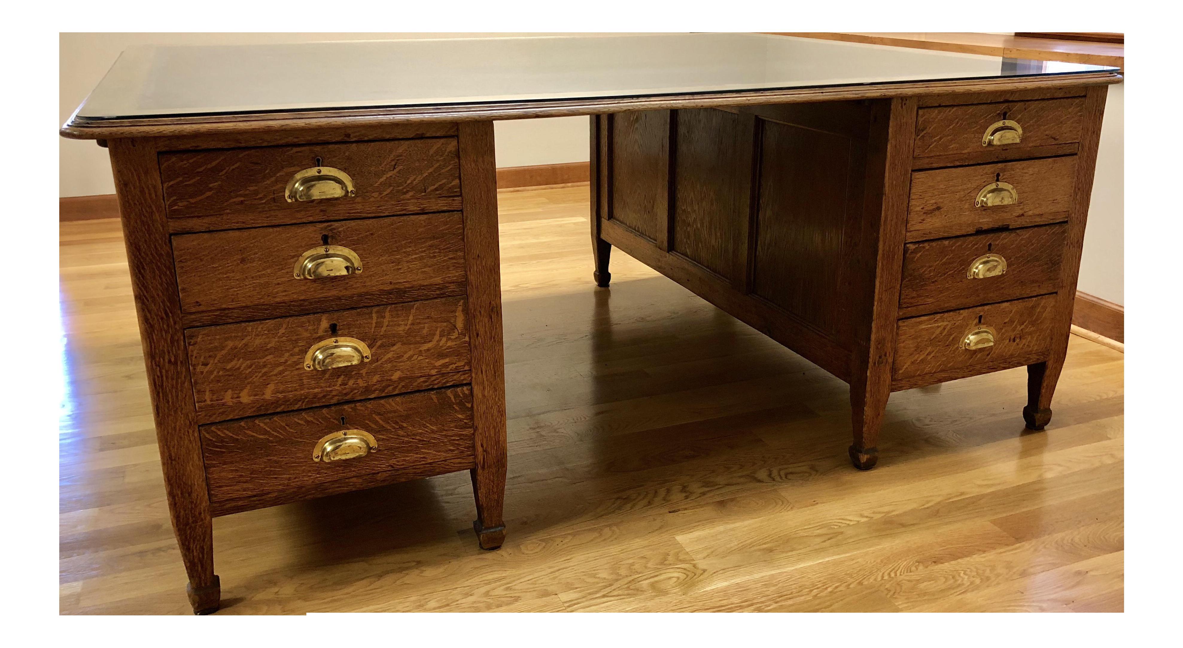 Antique Solid Oak Partner Desk Chairish