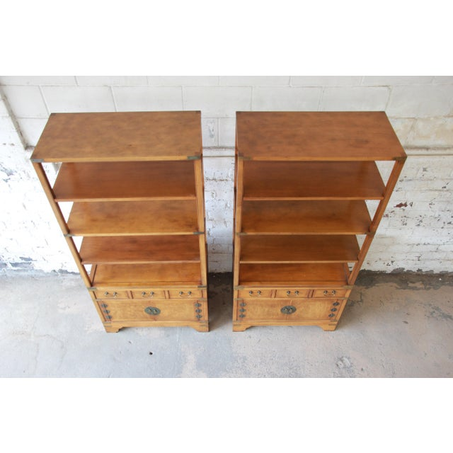 Michael Taylor for Baker Far East Collection Burl Wood Wall Units, Pair For Sale - Image 9 of 13