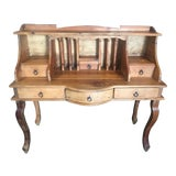 Image of 1970s French Country Louie XV Provincial Writing Desk With Hutch For Sale