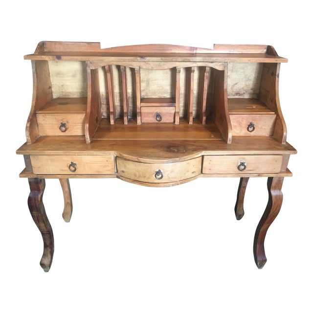 1970s French Country Louie XV Provincial Writing Desk With Hutch For Sale