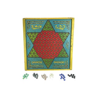 Chinese Checker Game Board & Marbles For Sale