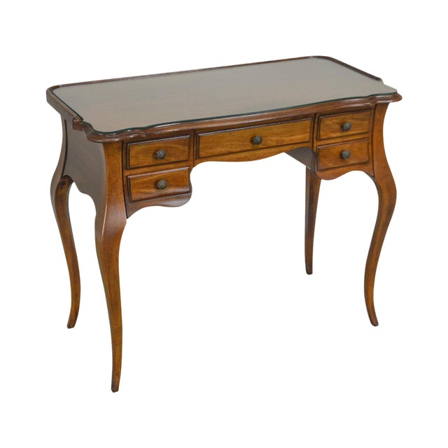 French Louis XV Style Vintage Walnut Small Writing Desk or Vanity For Sale
