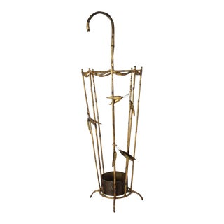 Vintage Italian Gilt Tole Umbrella Stand For Sale