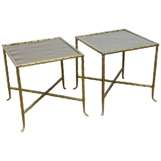 Pair of 1960s Mid-Century Modern Bagues Style Bronze Side Tables With Bronze Glass Tops For Sale