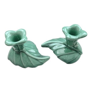 Vintage Royal Haeger Floral Ceramic Turquoise Candlestick Holders - a Pair For Sale