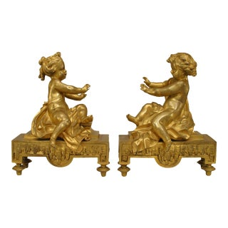 Pair of 19th Century French Gilt Bronze Putti Andirons For Sale