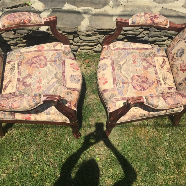 Vintage Victorian High Back Parlor Chairs - A Pair - Image 6 of 11