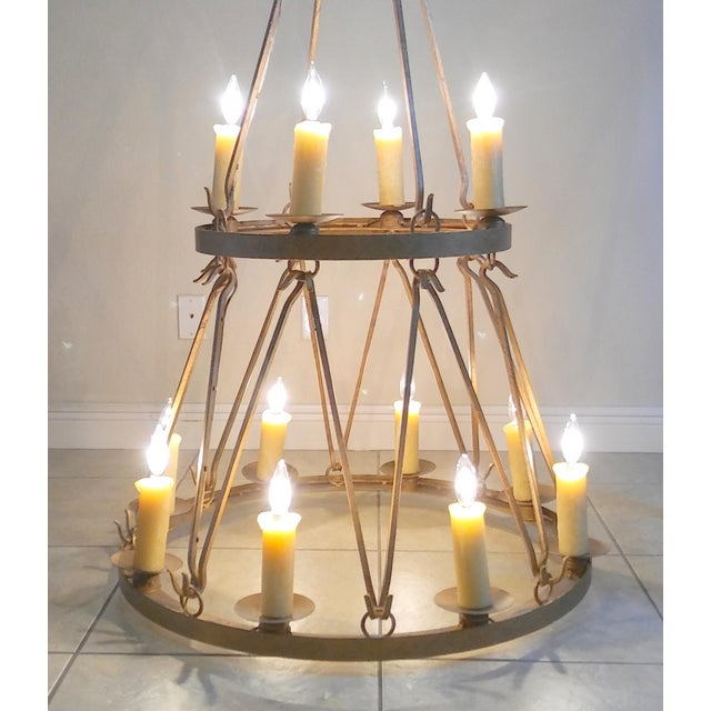 Late 20th Century Vintage Handmade Wrought Iron Two Tier Chandelier For Sale - Image 4 of 12