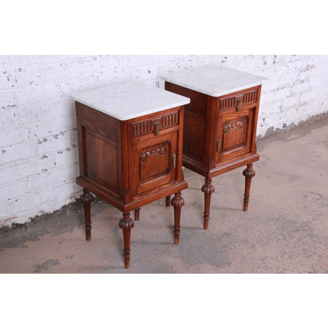 Louis XVI 19th Century Victorian Carved Oak Marble Top Nightstands - a Pair For Sale - Image 3 of 13
