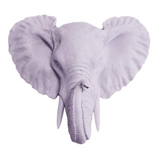 Wall Charmers Faux Head Bust Elephant Mini in Lavender
