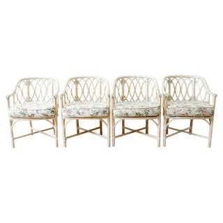 Set of Four McGuire Organic Modern Bamboo Rattan Armchairs For Sale