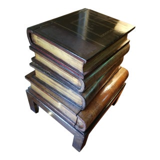 Maitland-Smith Figurative Stacked Leather Book Box Side Table For Sale