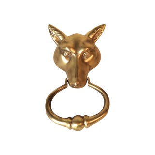 Solid Brass Fox Doorknocker For Sale