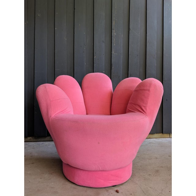 Boho Chic Pink Hand Shaped Swivel Lounge Chair For Sale In Dallas - Image 6 of 11