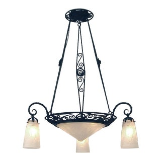 Large French Art Deco Era Muller Wrought Iron Chandelier For Sale