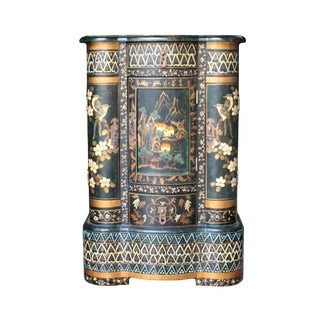 Chinese Oriental Green Lacquer Color Graphic Small Chest Side Table For Sale